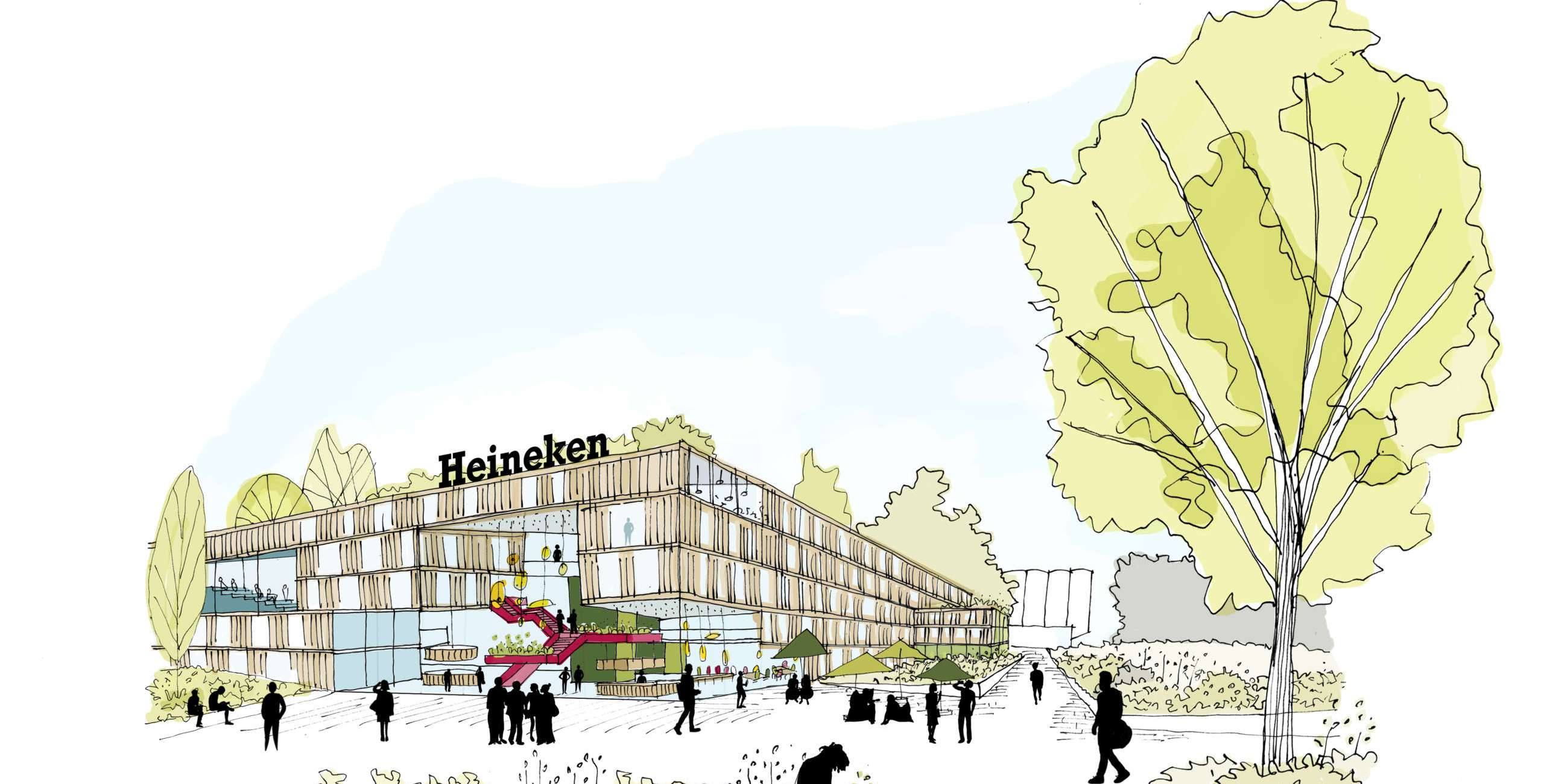 Sketch HEINEKEN office Zoeterwoude (design: Vakwerk Architects)
